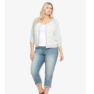 Torrid Lace Overlay Grey Sweater Cardigan Size 1X